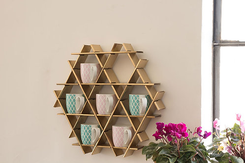 Mug rack - Small cardboard Ruche - gold finish
