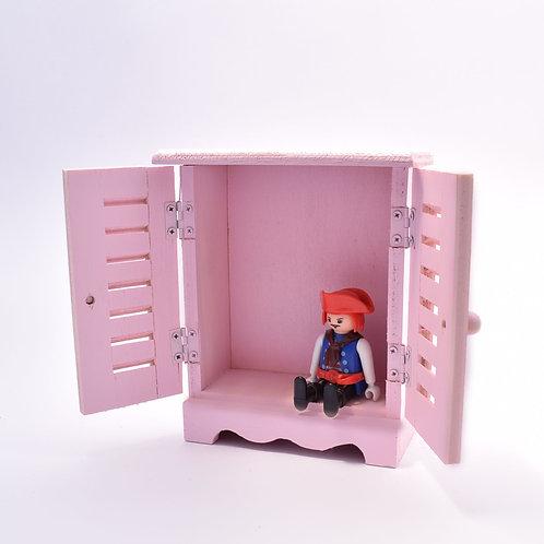 Wooden miniature wardrobe/jewelry box - piglet pink