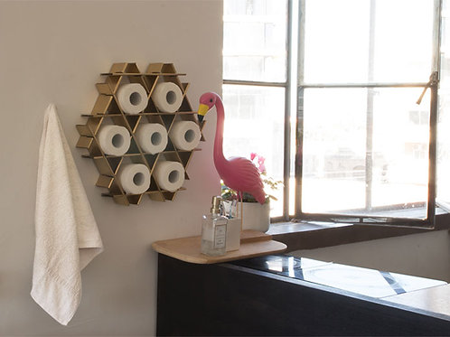 Bathroom shelf - Small cardboard Ruche - Gold finish