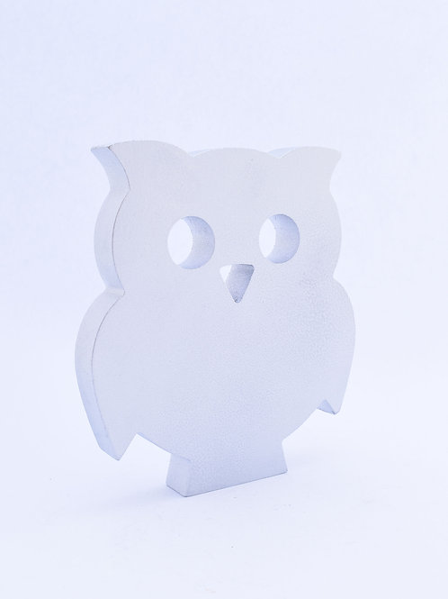 Cute wooden owl figure - silver finish