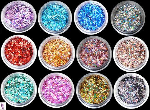 Paillettes multi-reflets set de 12 couleurs