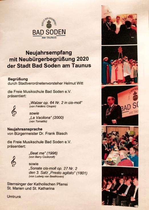 Musikschule am 11.01.2020 mit exzellenten Musikbeiträgen am Neujahrsempfang der Stadt Bad Soden!