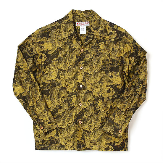 HK-19009L / LONG SLEEVE Hundred tigers darkness Jacquard (百虎 闇 ジャガード長袖) YELLOW