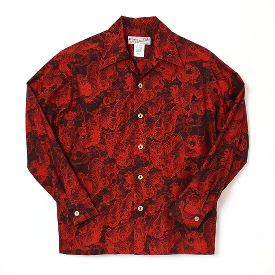 HK-19009L / LONG SLEEVE Hundred tigers darkness Jacquard (百虎 闇 ジャガード長袖) RED