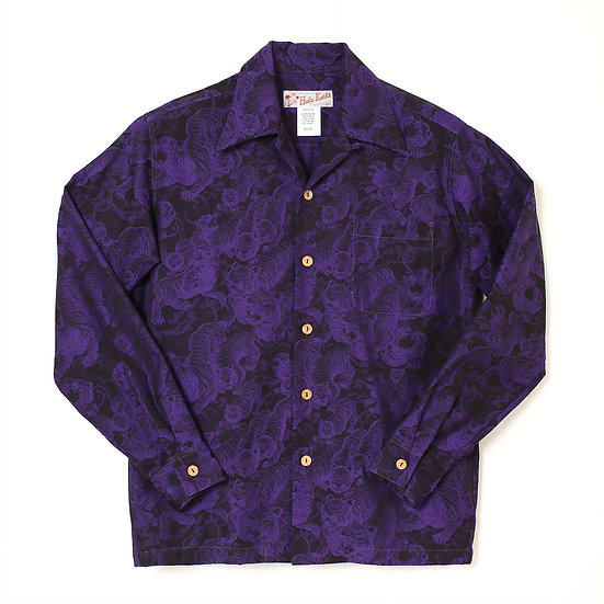HK-19009L / LONG SLEEVE Hundred tigers darkness Jacquard (百虎 闇 ジャガード長袖) PURPLE