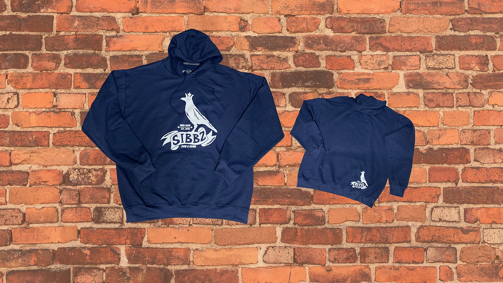 SIBBZ Classic Crow and Crown Hoodie Navy Blue Unisex