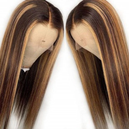 Honey Brown golden blonde frontal lace wig #4/#27