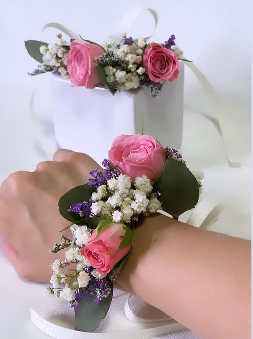 Pink Rose Wrist Corsages