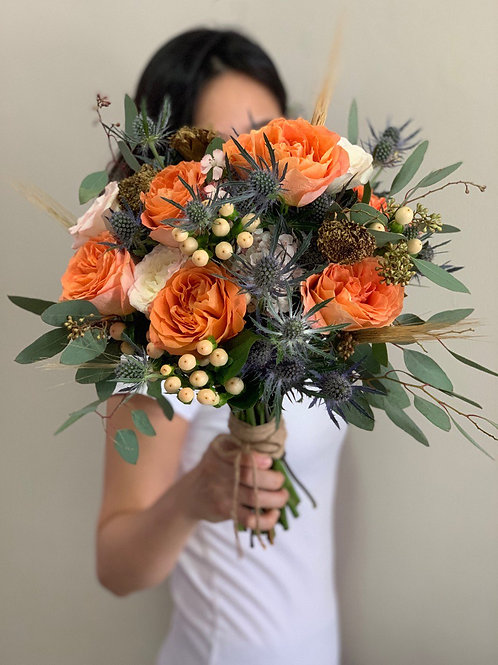 Kenya Rose and Thistle Bouquet