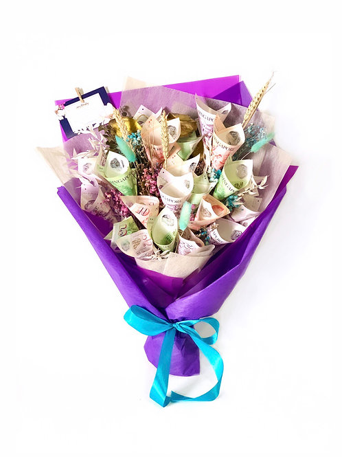 Money and Dried Flower Bouquet