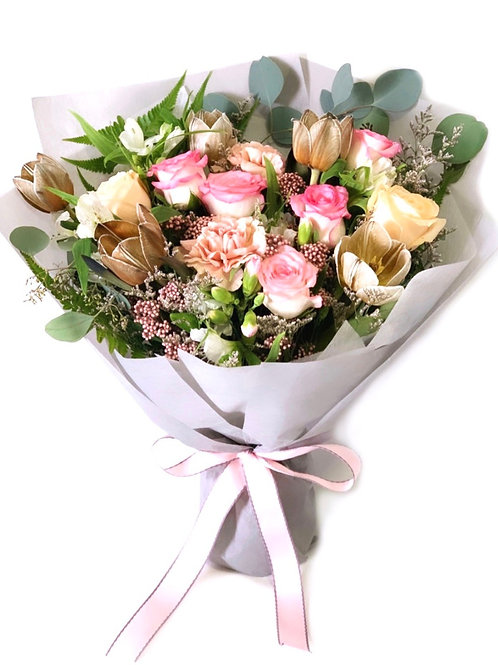 Brown Tulip and Rose Bouquet