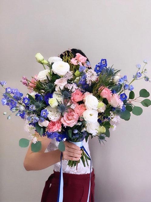 Delphinium and Thistle Bouquet