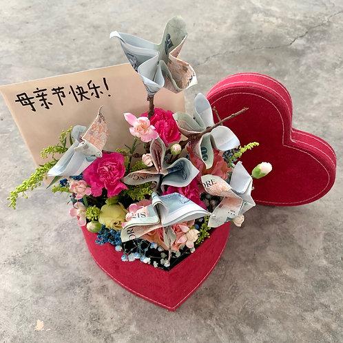 Money Box with Fresh Flowers