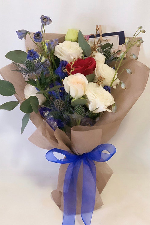 Eustoma and Thistle Bouquet