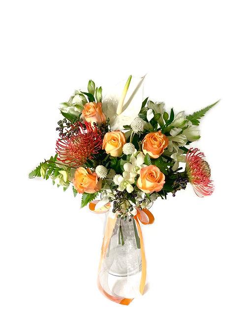 Pincushion Protea in Glass Vase