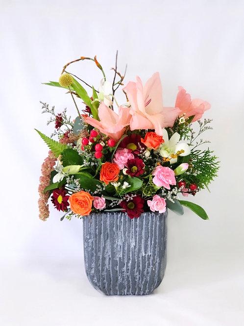 Blush Gladiolus in Grey Cement Vase