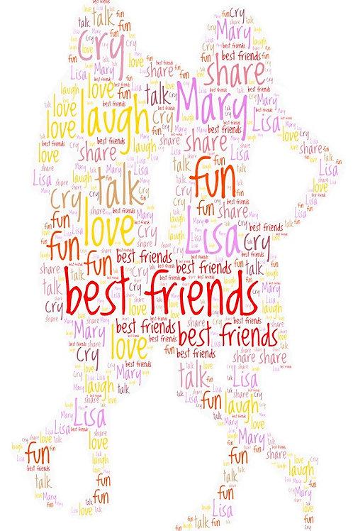 Personalized Girlfriends/Sisters Word Art Print