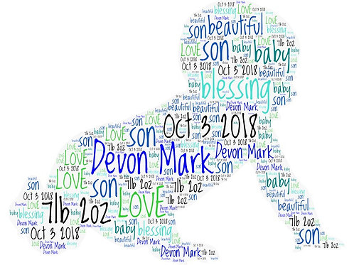Personalized Baby Boy Word Art Print