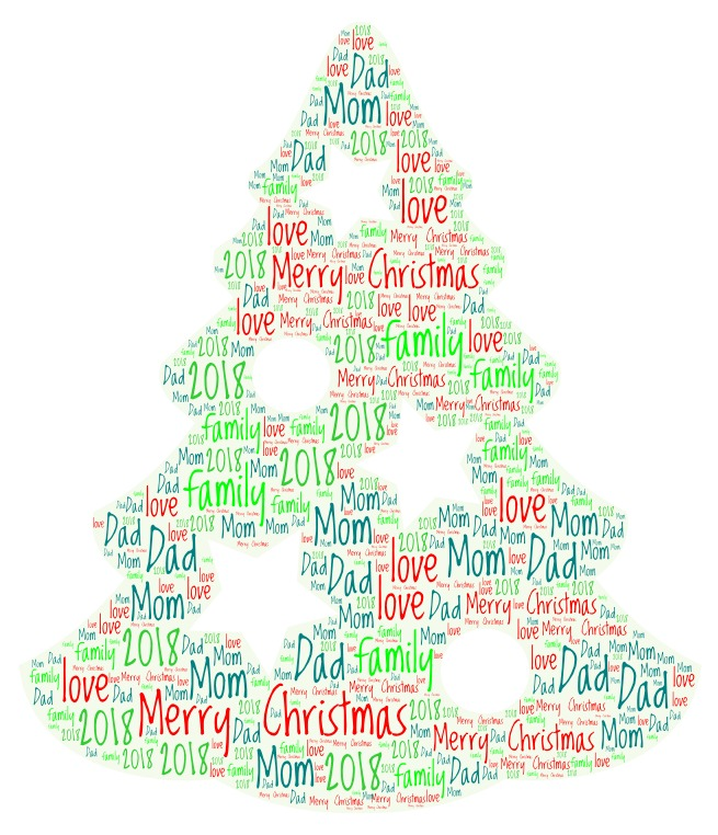Word Art 25 Christmas tree