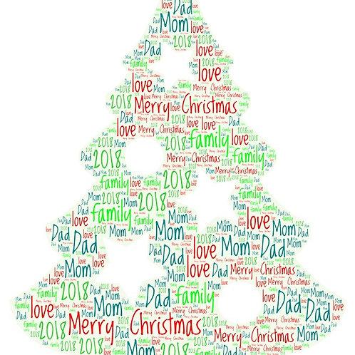 Personalized Christmas Tree Word Art Print