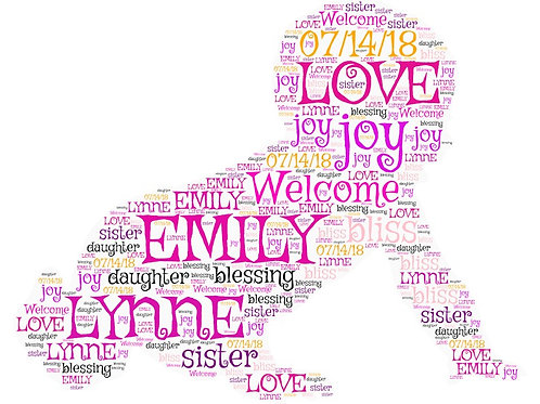 Personalized Baby Girl Word Art Print