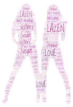 Word Art 34 sisters pink