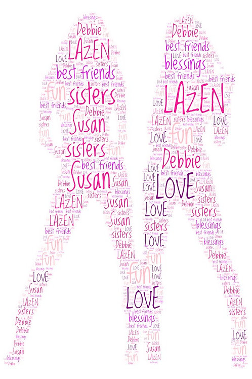 Personalized Girlfriends/Sisters 2 Word Art Print