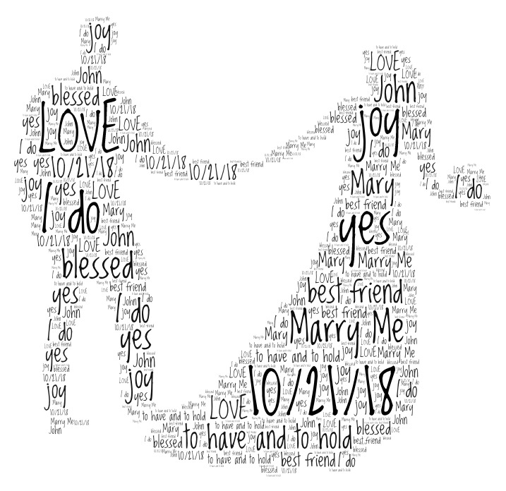Word Art  bride and groom
