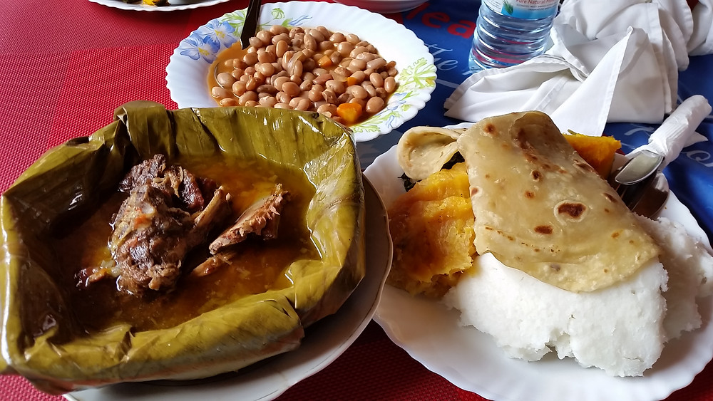 Ugandan traditional meal, luwombo, beans, chapati, posho, matooke, food, delicious