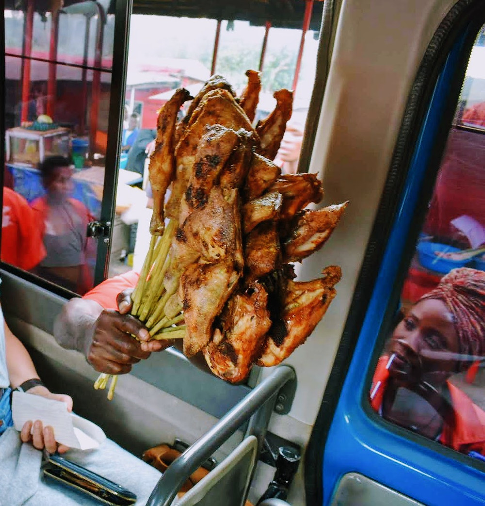 Uganda, chicken, grill, street food, travel, namawojjolo