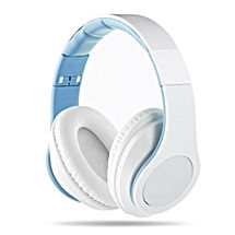 Blue and White Headphones