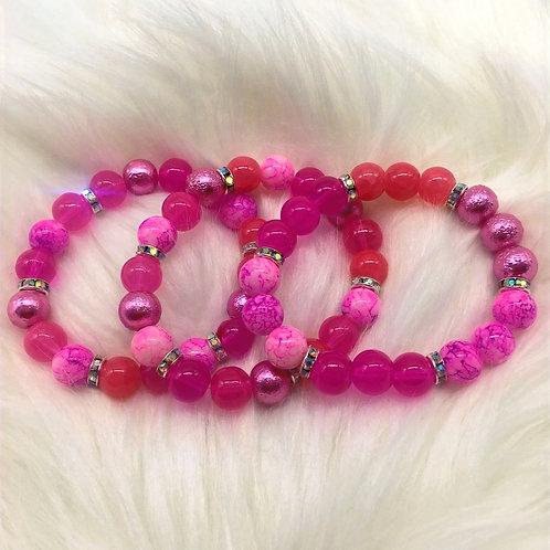"""Shades of Pink"" Triple Stack Bracelets"