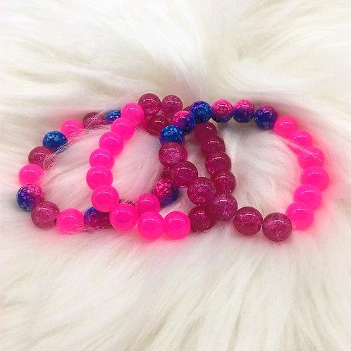 """Pink Splash"" Triple Stack Bracelets"