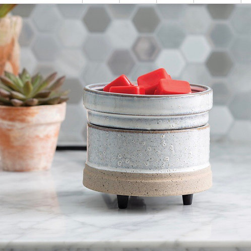 Rustic White Wax Melt Warmer & Candle Warmer