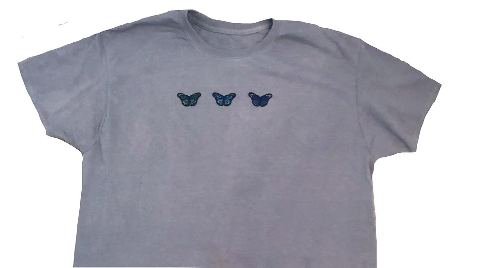 Cropped Grey Butterfly Shirt
