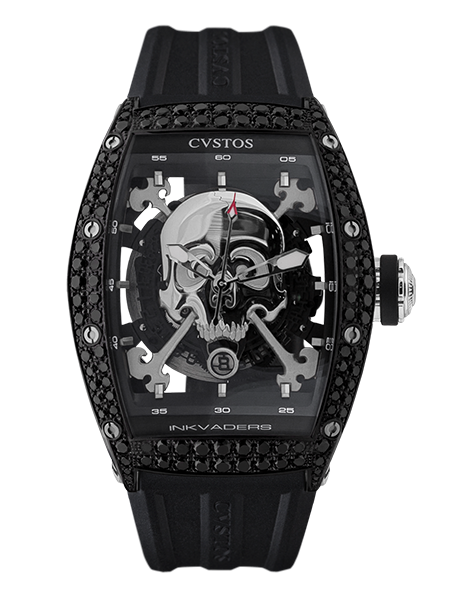 CVSTOS - Hour Minute Second-Inkvaders Jetliner Skull Black Steel, Titanium, Diam