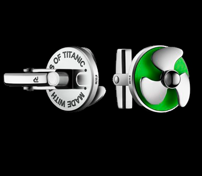 Romain Jerome - Titanic Cufflinks Green Lacquer & Steel