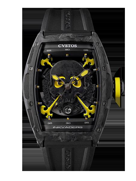 CVSTOS - Hour Minute Second -Inkvaders Skull Black Forged Carbon Honolulu Yellow