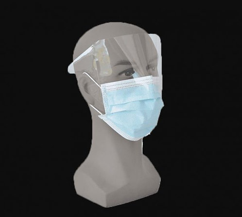 3 PLY FACE MASK WITH SHIELD
