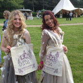 Lovely models with our tote bags