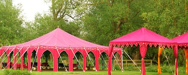 The Maharaja Marquee                                   Tent specifications: Size (Metres): 6m x 10m Size (Feet): 19ft x 32ft  Standing: 120  Dining: 60
