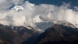 Annapurna South covered by Clouds