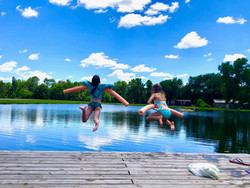 Kids Swimming In Lake | Airbnb | The Williams Ranch | Huntsville, TX