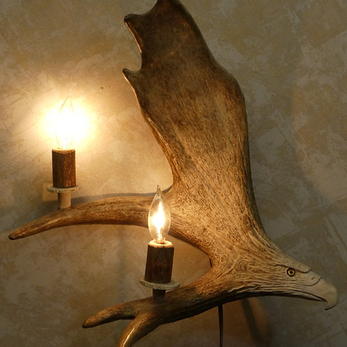 2 Light Moose Antler Wall Sconce w/ Eagle Carving