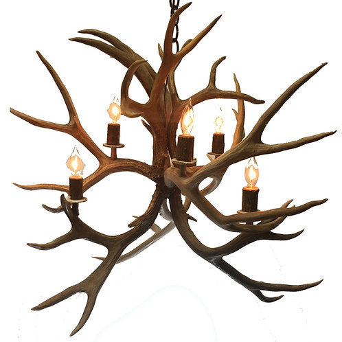 Six Light Fireball Mule Deer Antler Chandelier