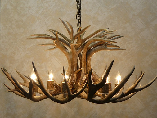 American natural resources griffith antler chandeliers eight light mule deer tamarack antler chandelier for sale mozeypictures Images