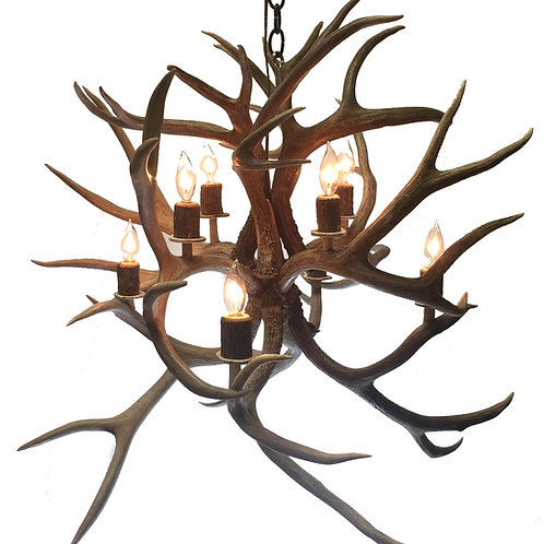 Medium Eight Light Fireball Mule Deer Antler Chandelier