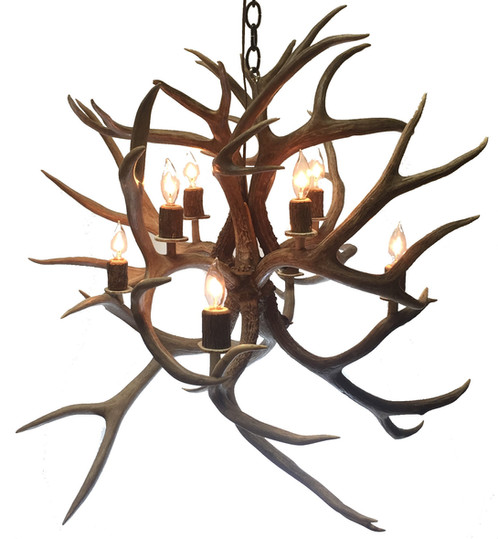 Eight light fireball mule deer antler chandelier medium eight light fireball mule deer antler chandelier aloadofball Images