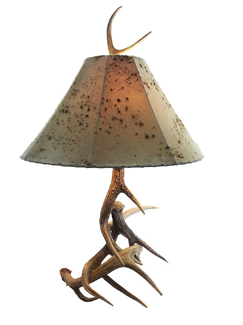 Real Three Antler Table Lamp plus Sheepskin Lampshade