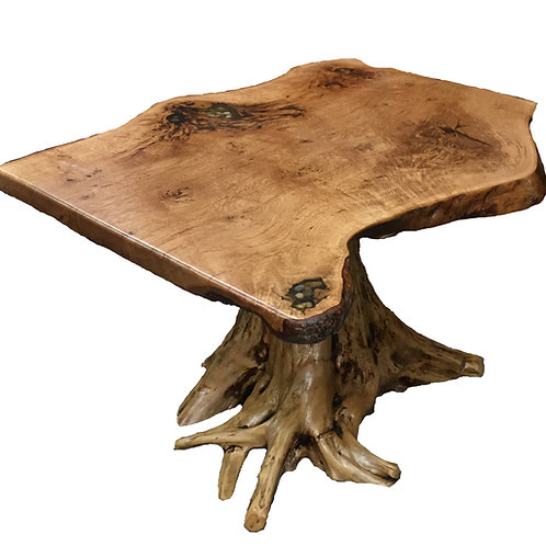 White Cedar Stump Table w/ Oak Slab
